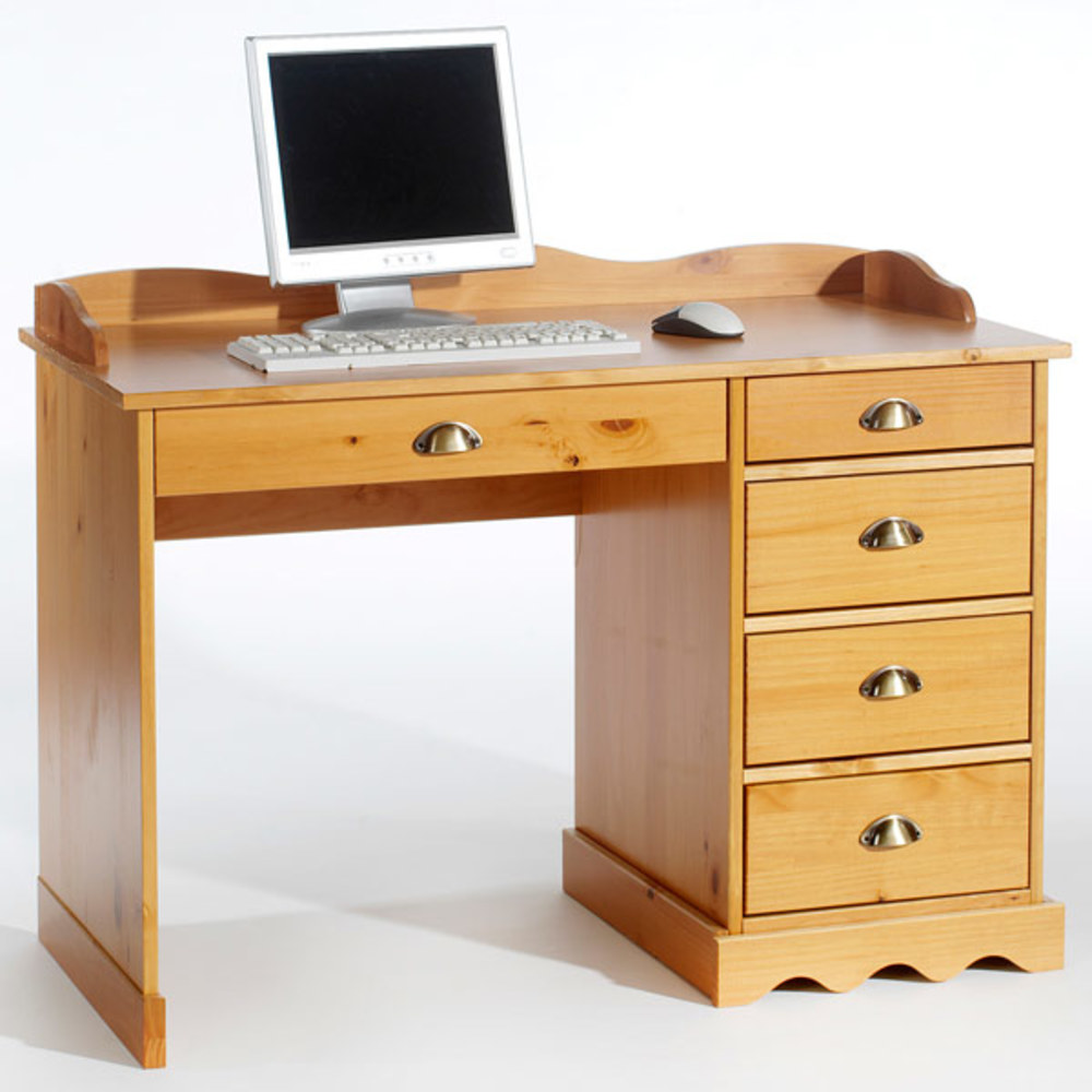 Bureau colette 2 pin miel for Meuble bureau 2 main