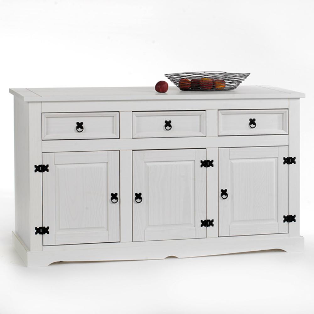 bahut 3 portes 3 tiroirs tequila lasur blanc. Black Bedroom Furniture Sets. Home Design Ideas