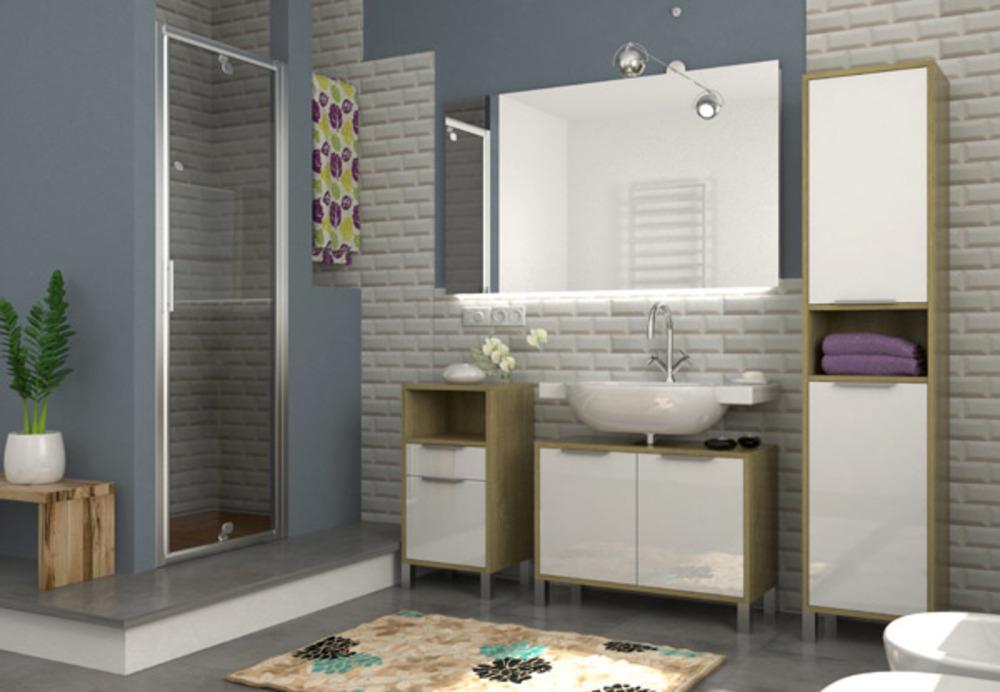 Colonne 2 portes armonia chene sonoma blanc brillant for Meuble colonne salle de bain 2 portes
