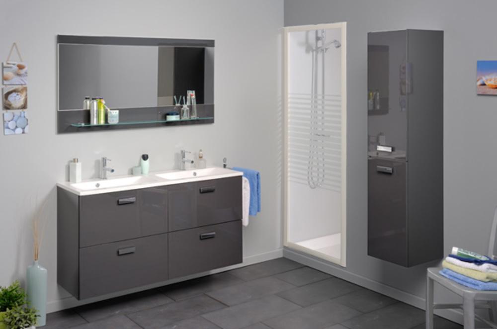 colonne 2 portes studio 2 laque gris. Black Bedroom Furniture Sets. Home Design Ideas