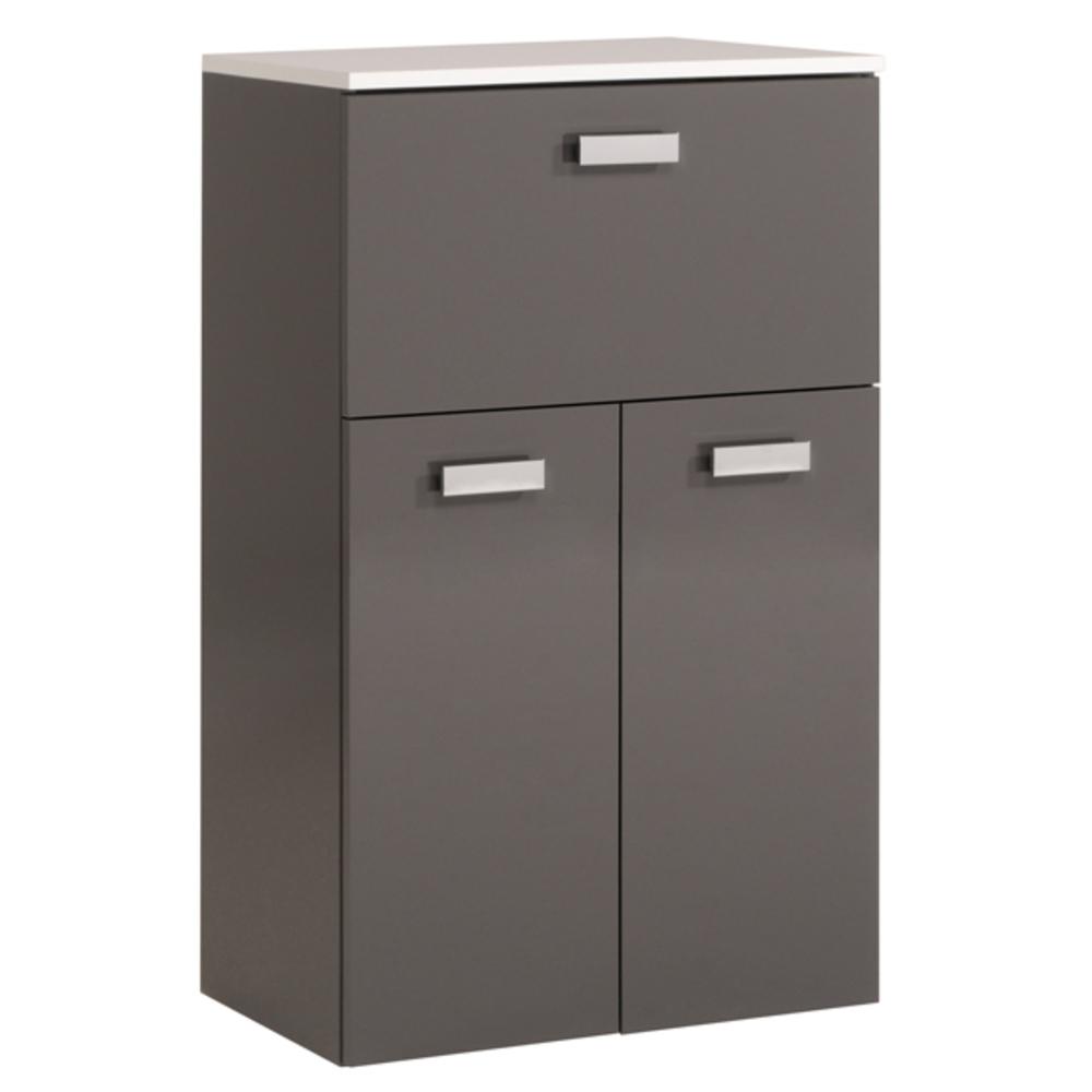 Meuble bas 1 tiroir 2 portes studio 2 laque gris for Meuble bas salle de bain 2 portes