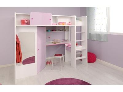 lit sureleve mademoiselle blanc parme. Black Bedroom Furniture Sets. Home Design Ideas