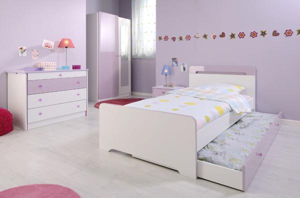 tiroir lit mademoiselle blanc parme. Black Bedroom Furniture Sets. Home Design Ideas