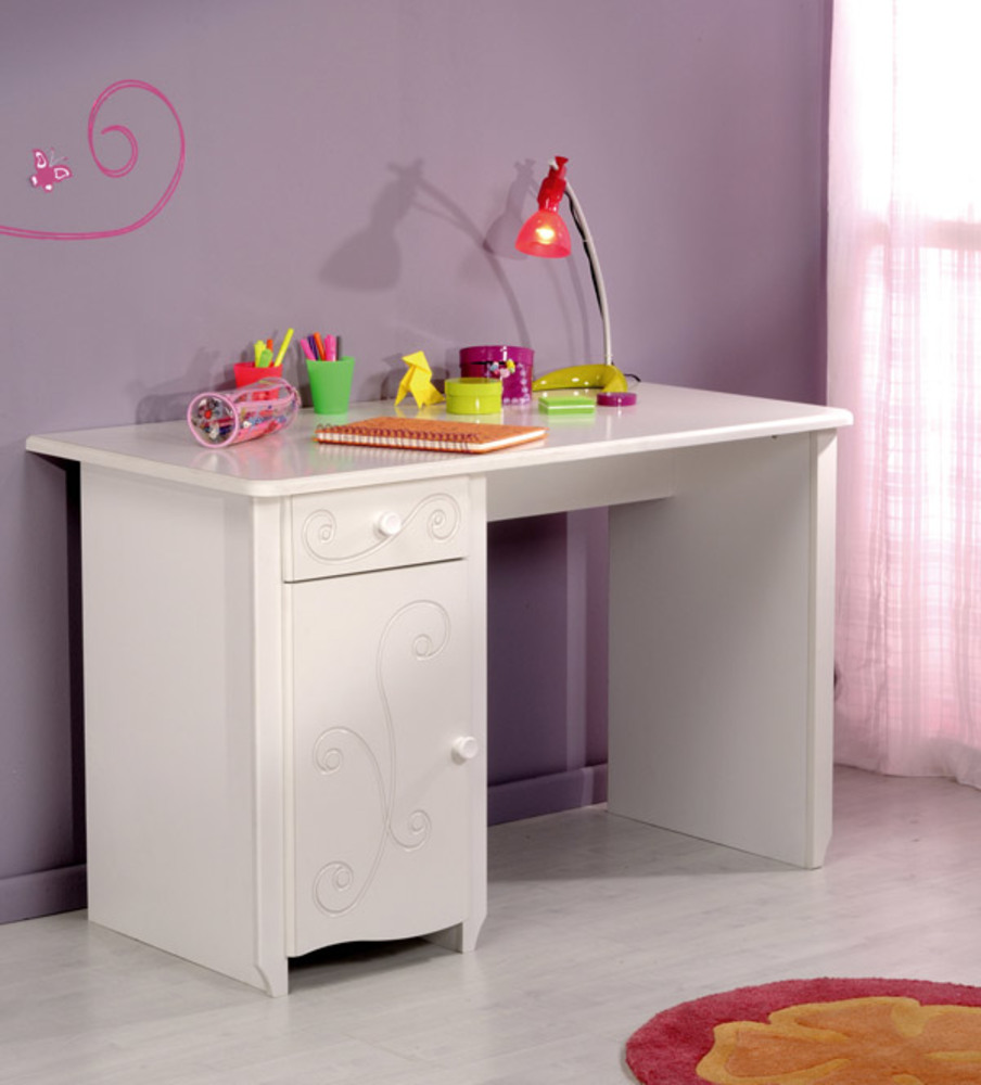 Bureau alice blanc brillant blanc for Meuble bureau fille