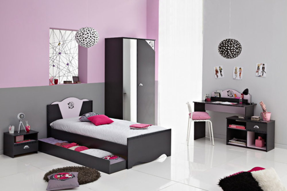 armoire 2 portes tatoo gris rose. Black Bedroom Furniture Sets. Home Design Ideas