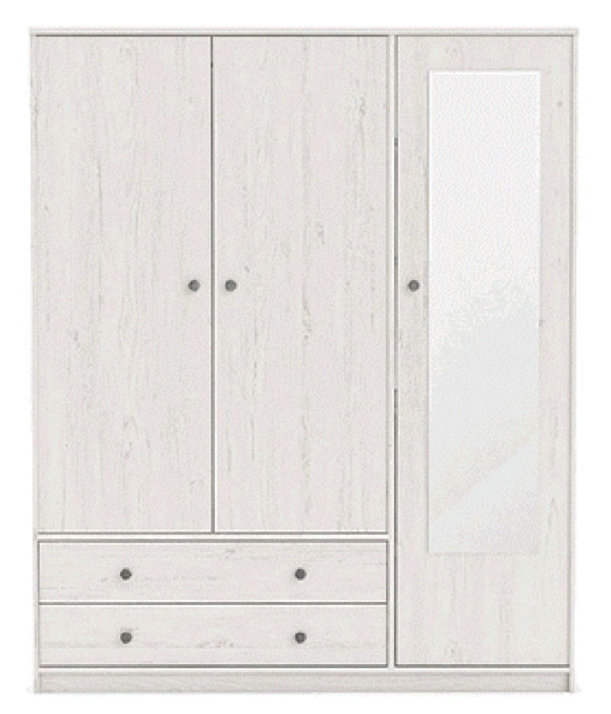 armoire 3 portes 2 tiroirs copenhague pin blanchi. Black Bedroom Furniture Sets. Home Design Ideas