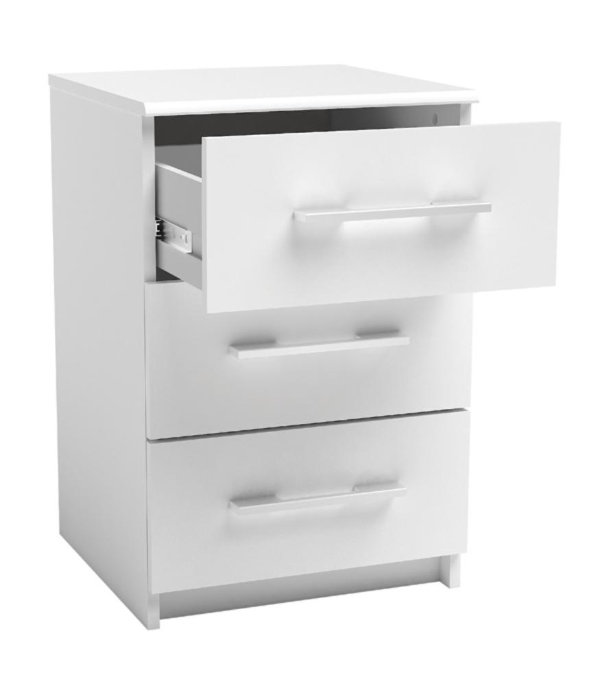 chevet 3 tiroirs new york blanc. Black Bedroom Furniture Sets. Home Design Ideas