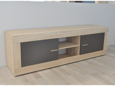 Meuble tv 2 portes Aura chene samoa/gris mat