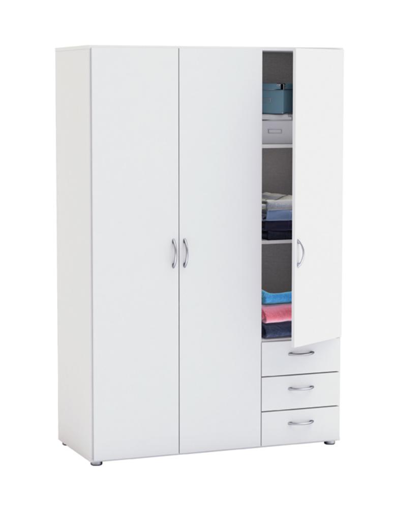 Armoire 3 portes 3 tiroirs lol 3 blanc for Armoire tiroir chambre