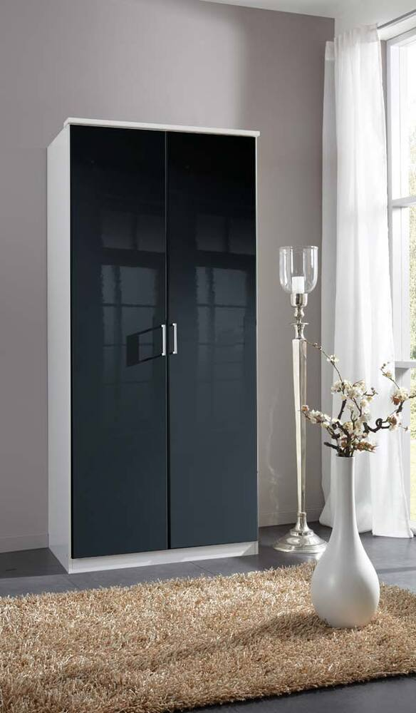 armoire 2 portes clack blanc noir portes pleines blanc. Black Bedroom Furniture Sets. Home Design Ideas