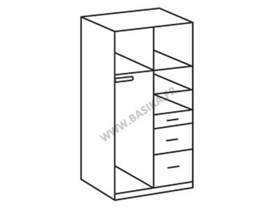 Armoire 2 portes 3 tiroirs Clack blanc/noir portes pleines