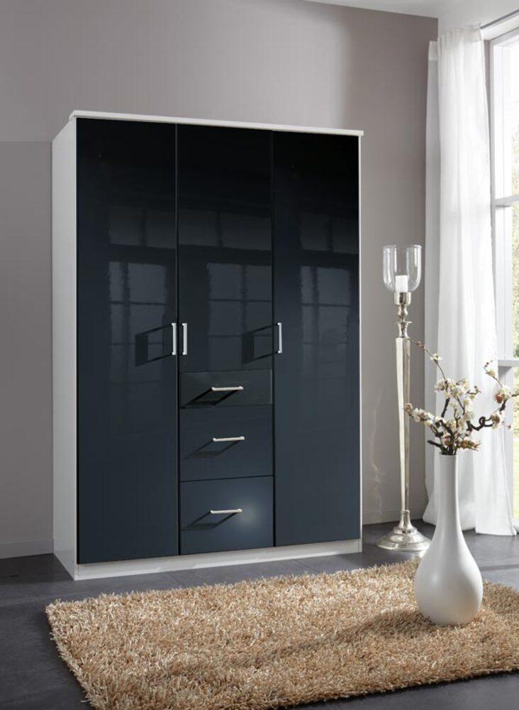 Armoire 3 portes 3 tiroirs clack blanc noir portes pleines blanc noir brillant - Armoire sellerie occasion ...