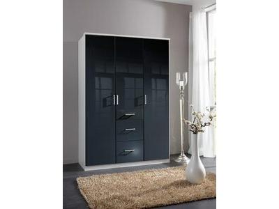 Armoire 3 portes 3 tiroirs Clack blanc/noir portes pleines