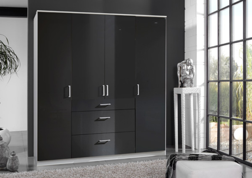 armoire 4 portes 3 tiroirs clack blanc noir portes pleines. Black Bedroom Furniture Sets. Home Design Ideas