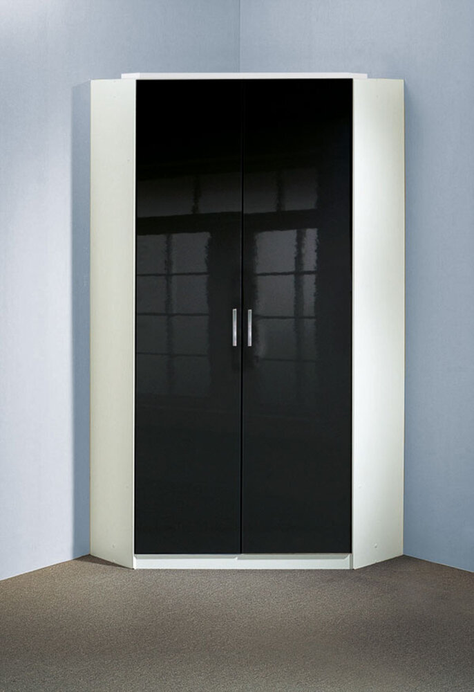 armoire d 39 angle clack blanc noir portes pleines blanc noir brillant. Black Bedroom Furniture Sets. Home Design Ideas