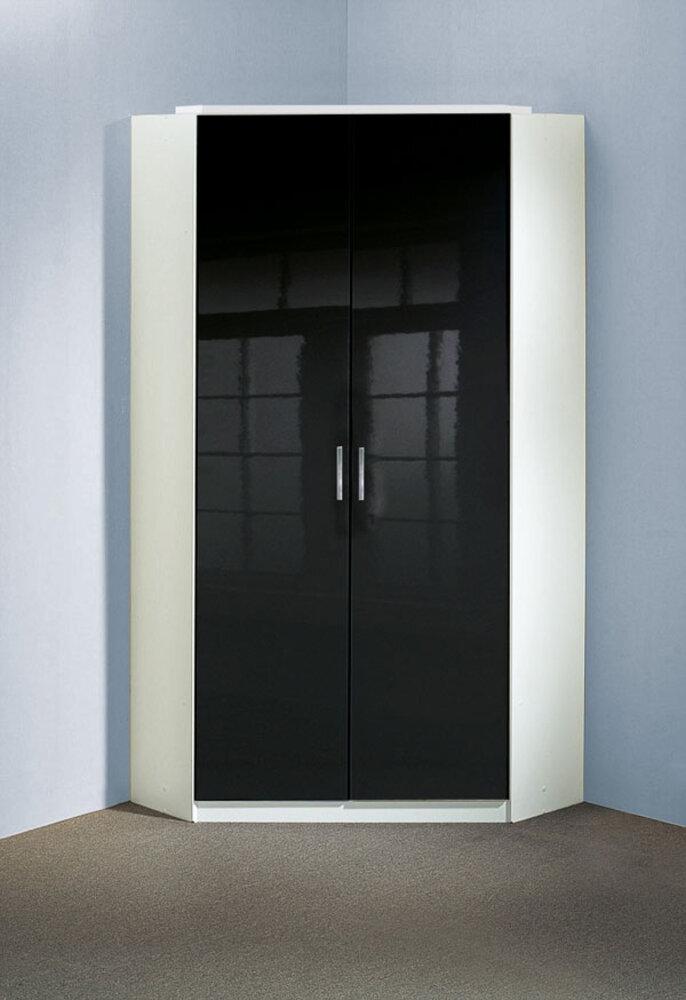 Armoire d 39 angle clack blanc noir portes pleines blanc noir - Armoire noire portes ...
