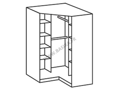 Armoire d'angle Clack blanc/noir portes pleines