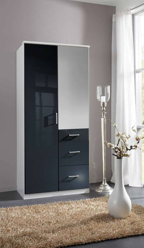 armoire 2 portes 3 tiroirs clack blanc noir brillant. Black Bedroom Furniture Sets. Home Design Ideas