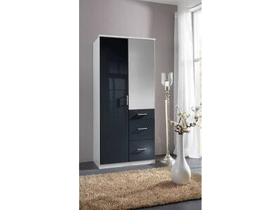 Armoire 2 portes 3 tiroirs Clack  blanc/noir brillant portes miroirs