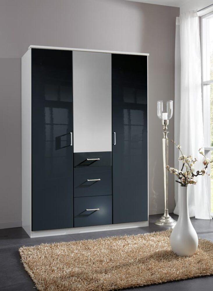 armoire 3 portes 3 tiroirs clack blanc noir brillant portes miroirs. Black Bedroom Furniture Sets. Home Design Ideas