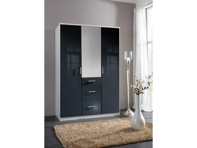 Armoire 3 portes 3 tiroirs Clack  blanc/noir brillant portes miroirs