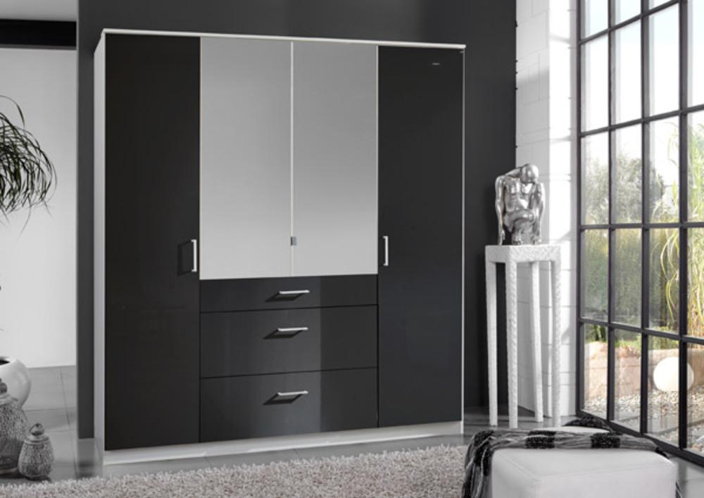 armoire 4 portes 3 tiroirs clack blanc noir brillant portes miroirs. Black Bedroom Furniture Sets. Home Design Ideas