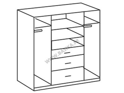 Armoire 4 portes 3 tiroirs Clack  blanc/noir brillant portes miroirs