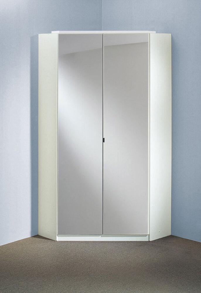 Armoire d 39 angle clack blanc noir brillant portes miroirs - Meuble angle chambre ...