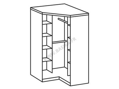 Armoire d'angle Clack  blanc/noir brillant portes miroirs