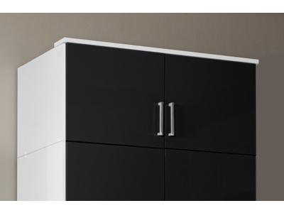 Surmeuble 2 portes Clack  blanc/noir brillant portes miroirs