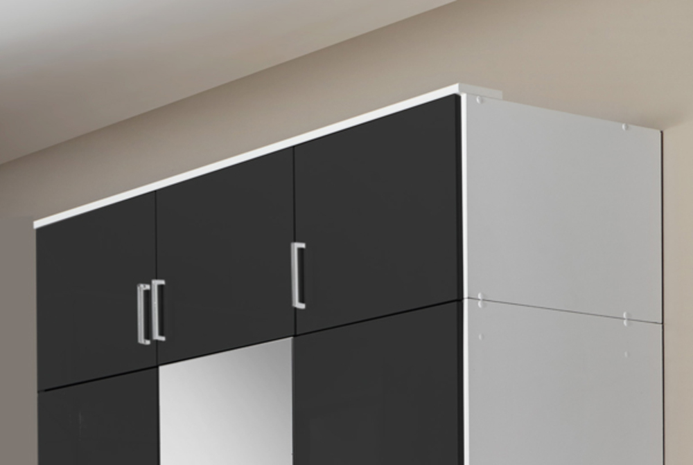 Surmeuble portes clack blanc noir brillant portes miroirs