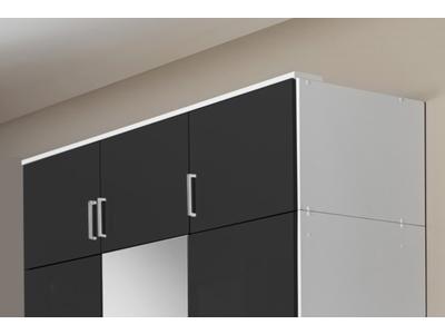 Surmeuble 3 portes Clack  blanc/noir brillant portes miroirs