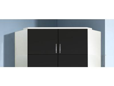 Surmeuble d'angle Clack  blanc/noir brillant portes miroirs
