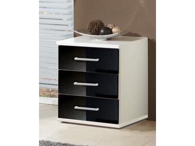 Chevet 3 tiroirs Clack  blanc/noir brillant portes miroirs
