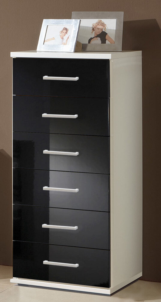 chiffonnier 6 tiroirs clack blanc noir brillant portes miroirs. Black Bedroom Furniture Sets. Home Design Ideas