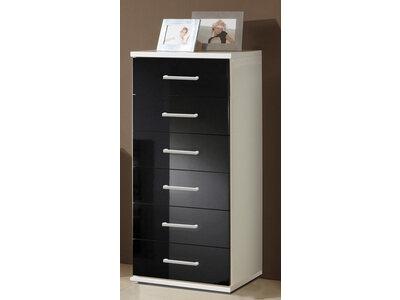 Chiffonnier 6 tiroirs Clack  blanc/noir brillant portes miroirs