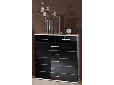 Commode 5 tiroirs+2 petits Clack  blanc/noir brillant portes miroirs
