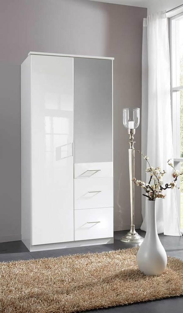 Armoire 2 Portes 3 Tiroirs Clack Blanc Portes Miroirs Blanc Brillant