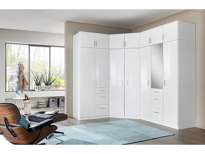 Armoire 2 portes 3 tiroirs Clack  blanc  portes miroirs