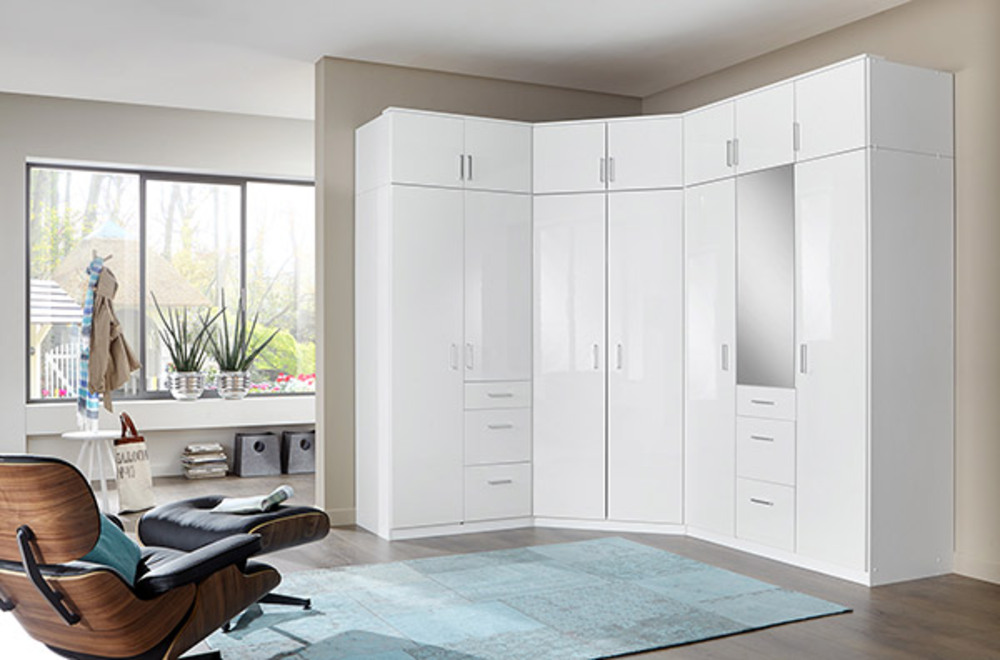 armoire 2 portes 3 tiroirs clack blanc portes miroirs blanc brillant. Black Bedroom Furniture Sets. Home Design Ideas