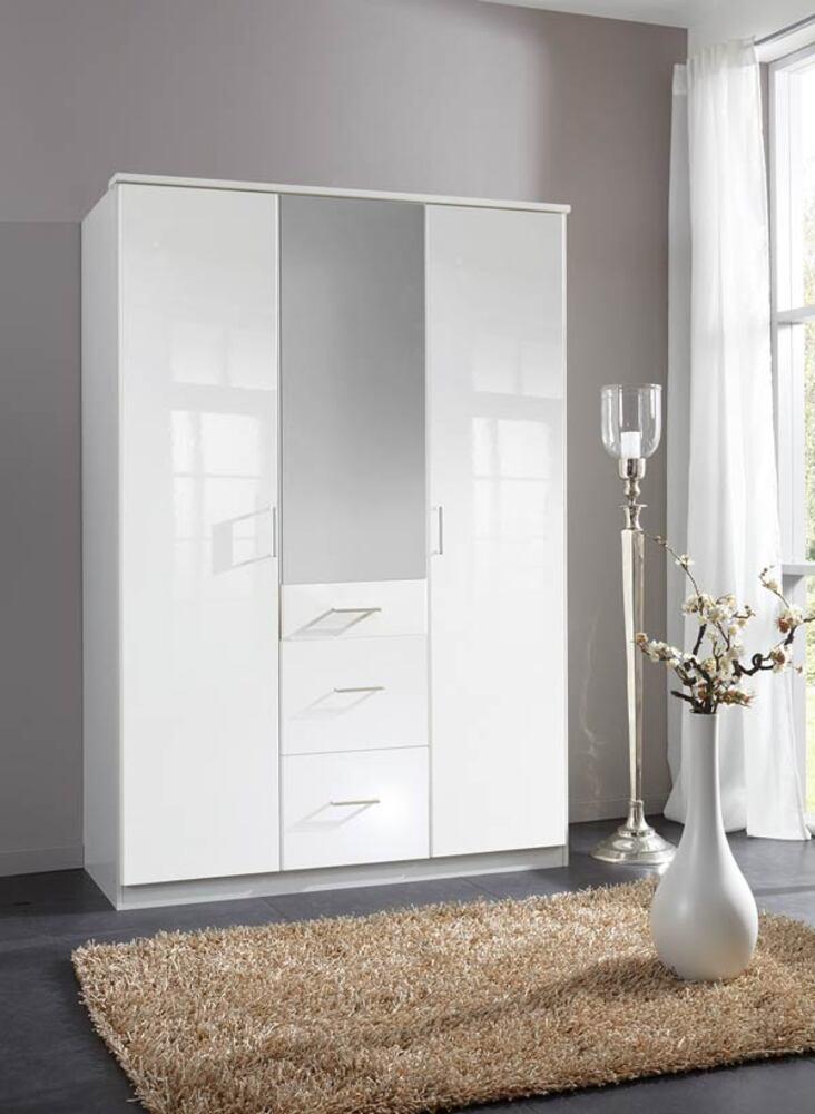 Armoire 3 portes 3 tiroirs clack blanc portes miroirs - Armoire blanche 3 portes ...