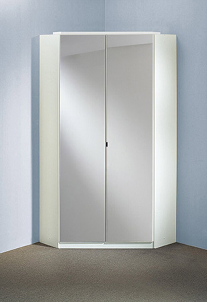 armoire d 39 angle clack blanc portes miroirs. Black Bedroom Furniture Sets. Home Design Ideas