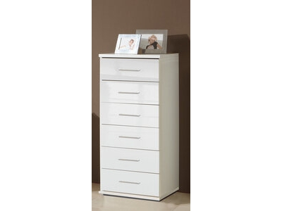 chiffonnier 6 tiroirs vega blanc brillant. Black Bedroom Furniture Sets. Home Design Ideas