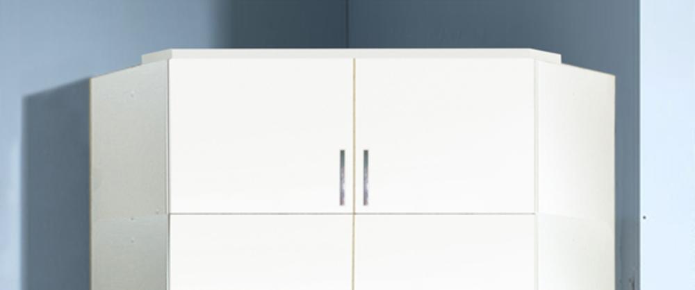 Surmeuble d 39 angle clack blanc portes miroirs blanc for Surmeuble armoire chambre