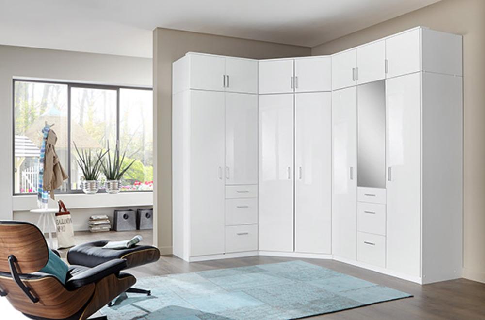 Surmeuble d 39 angle clack blanc portes miroirs blanc brillant - Meuble angle chambre ...