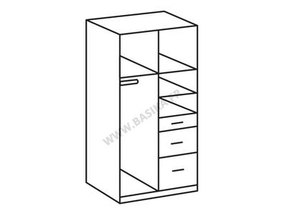 Armoire 2 portes 3 tiroirs Clack blanc  portes pleines