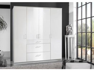 Armoire 4 portes 3 tiroirs Clack blanc  portes pleines