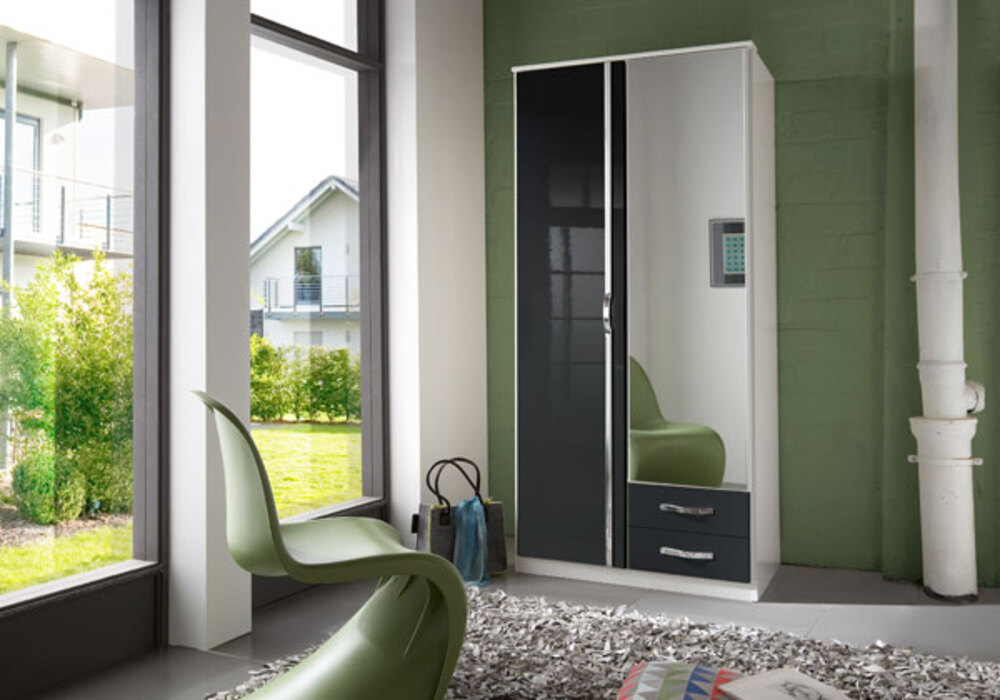 armoire 2 portes 2 tiroirs trio blanc noir brillant. Black Bedroom Furniture Sets. Home Design Ideas
