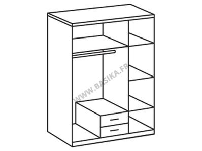 Armoire 3 portes 2 tiroirs Trio blanc/noir brillant