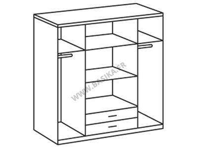 Armoire 4 portes 2 tiroirs Trio blanc/noir brillant